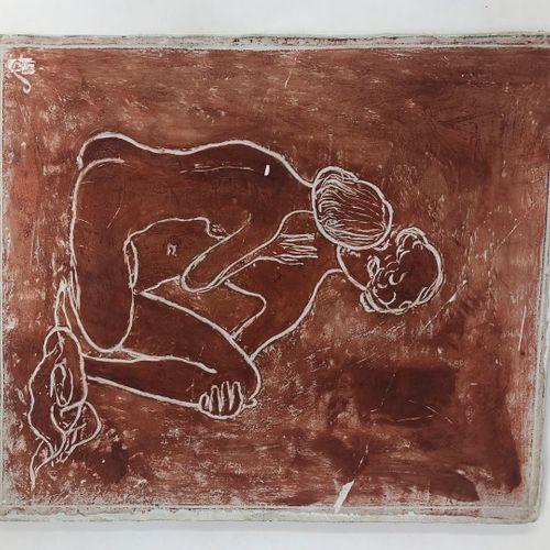 斯托尔 埃德蒙 (1903 1956)  夫妇,粉红色的石膏,左下方有ES的签名。  30.50x26厘米。  小事故,弄脏。    爱德华 斯托尔(Edoua…