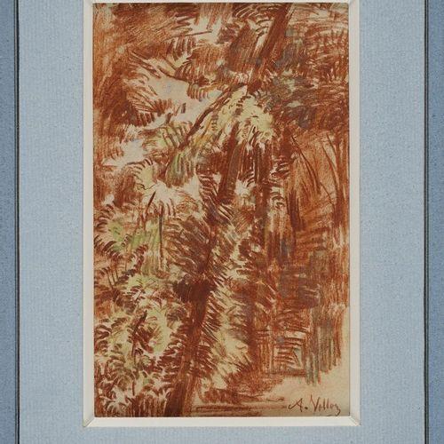 VOLLON Antoine, 1833 1900  Personnages derrière les arbres Sous les arbres  deux…
