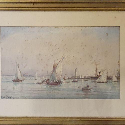 HENRY Émile (1842 1920)  Vue du port,  Aquarelle sur papier, signé en bas à gauc…