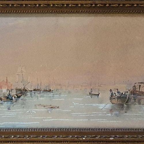 ECOLE XIXème siècle  Vue de venise, 1839  Aquarelle, signature peu lisible et da…