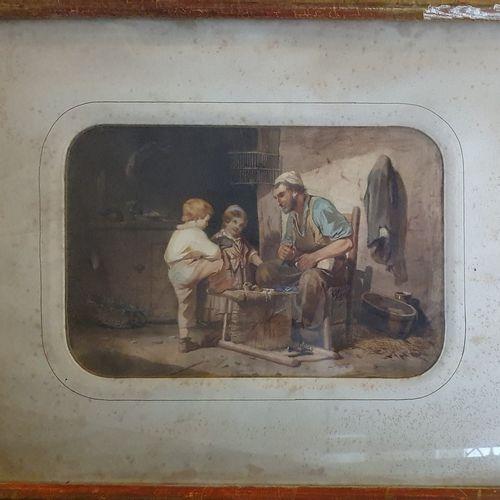 ECOLE XIXème siècle  Le Rempailleur et ses enfants, 55  aquarelle sur papier, mo…