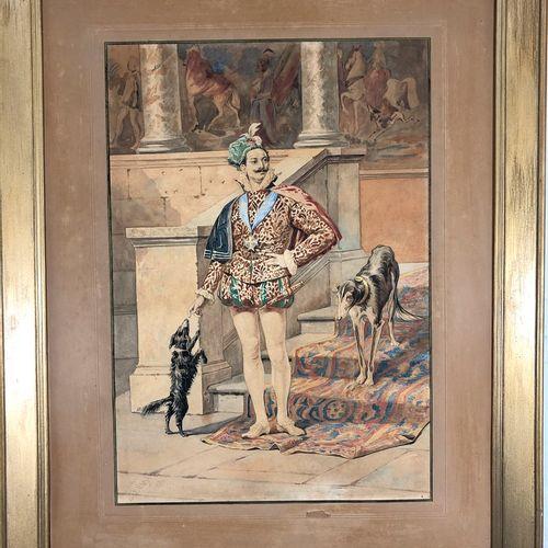 GIOJA Belissario, d'après  Seigneur italien aux chiens  aquarelle sur papier (in…