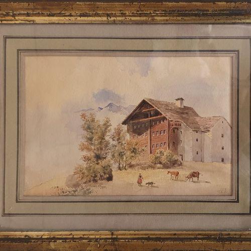 JUNG Théodore (1803 1865)  Paysage au Châlet ,  Aquarelle en bas à droite .  Ins…