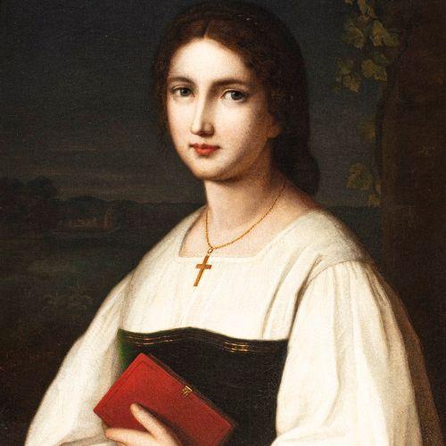 SCHMITT Nathanael, 1847 1918  拿着红皮书的年轻女子,海德堡,1865年  布面油画(裂缝,严重磨损和修复)。  左下角有签名、位置…