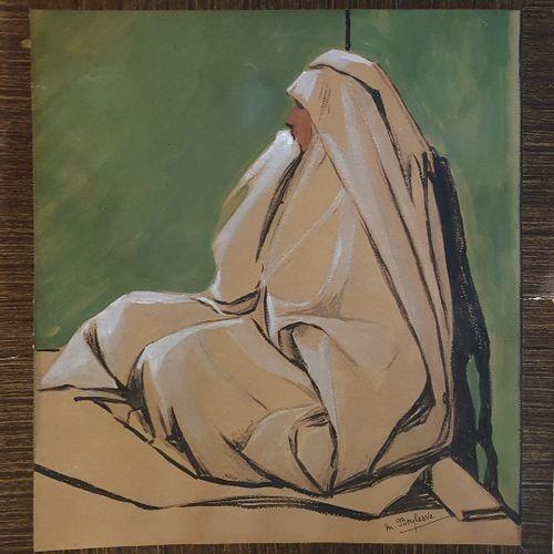 BOYLESVE Marie (XX)  Femme orientale assise  Aquarelle et rehauts de gouache, si…