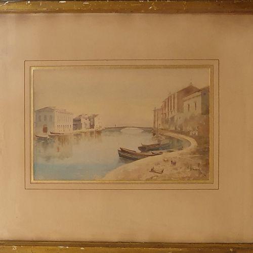 JEANNOLLE H (XIX XXème)  Vue du port,  aquarelle sur papier signé en bas à droit…