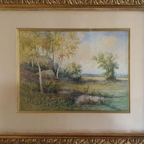 GASSIES Georges (1829 19191)  Biche dans un paysage  aquarelle et rehauts de gou…