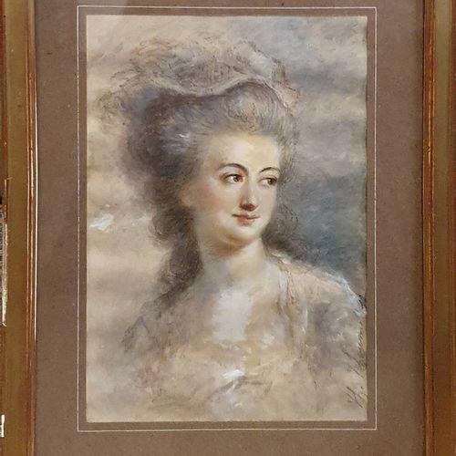 TCHOUMAKOFF Féodor (1823 1911)  Portrait de femme,  aquarelle, crayons et rehaut…