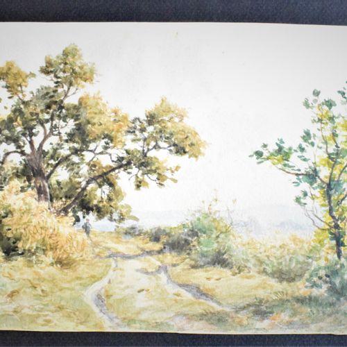 ROUX Paul (1845 1918)  Paysage de campagne, 1914 sous bois au lac bord de lac ar…