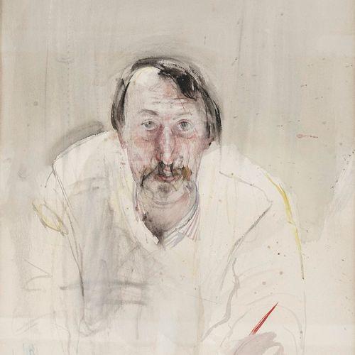 BOTSOGLOU Chronis, né en 1941  Autoportrait au pinceau, 1980  aquarelle (insolat…