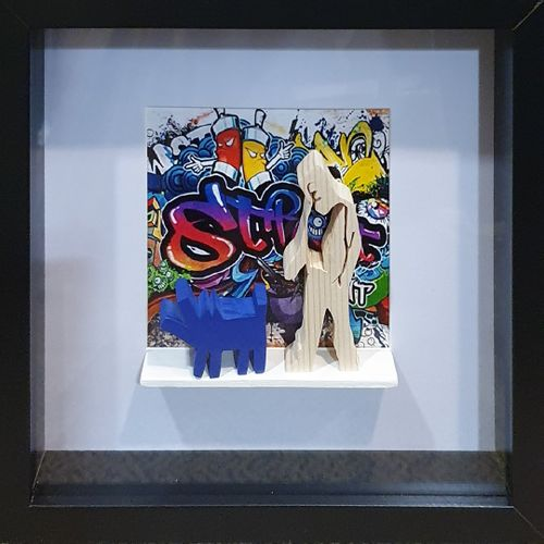 RAVI (né en 1968)  Sans Titre, Paris 2021  Collage et sculpture sur bois, signé,…