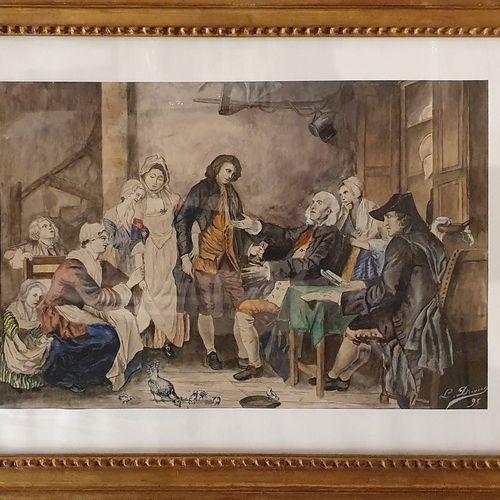 DRIVIER Leon Ernest, d'après  Les accordailles (d'après une gravure du XVIIIeme …