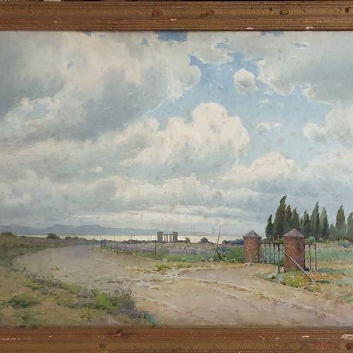 RAYMOND Casimir (1870 1955)  Portail en bord de mer,  Aquarelle sur paiper signé…