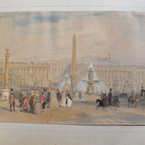 ANONYME XIXeme  La place de la Concorde, Paris  Encre et aquarelle sur papier  i…