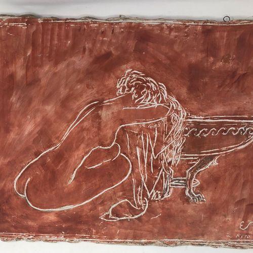 斯托尔 埃德蒙 (1903 1956)  裸体女人,坐着,靠着碗,粉红色的石膏,右下角有ES的签名和VI 53的日期。  35x48厘米。  小事故,弄脏。  …