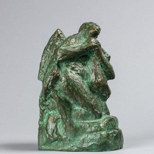HALEPAS Yannoulis, d'après  Ange  bronze à patine brun vert nuancée, fonte d'édi…