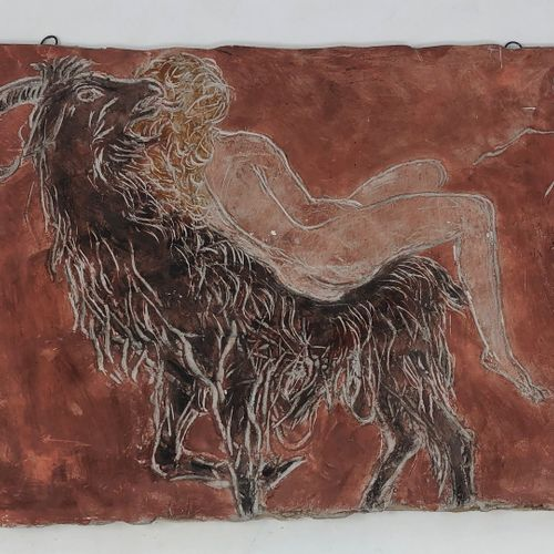 斯托尔 埃德蒙 (1903 1956)  山羊身上的裸体女人,粉红色的石膏,右下角有ES的签名和53的日期。  26x43厘米。  小事故,弄脏。    爱德华…
