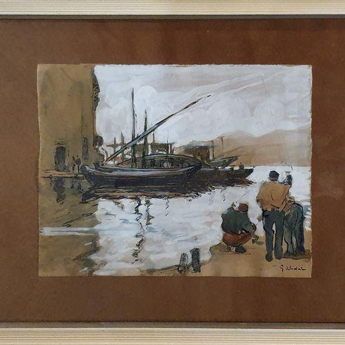 VIDAL Gustave (1895 1966)  Bateaux et pêcheurs au port,  Aquarelle, encre et gou…