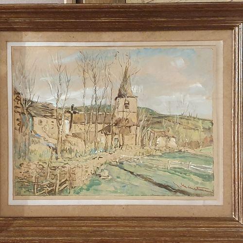 MENETRIER Eic ( 1958 2019 )  Village d'Auvergne,  aquarelle et rehauts de gouach…