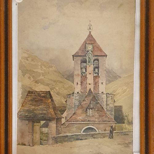 LAURENT F (XIX XX)    Vue d'église en montagne,  Aquarelle sur papier signé daté…
