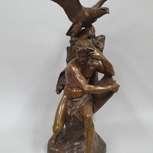PICAULT Émile Louis, 1833 1915,  Le penseur,  groupe en bronze à patine brun nua…
