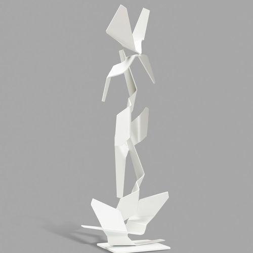 MALTIER Dominique, né en 1954  Sans titre blanc  sculpture en métal découpé, pli…