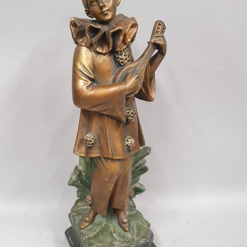 西普里亚尼 阿道夫 (1880 1930)  小夜曲  石膏雕塑,带有多色铜锈,背面:Cipriani,背面:JB巴黎版,注册和一个编号313  小小的划痕、微…
