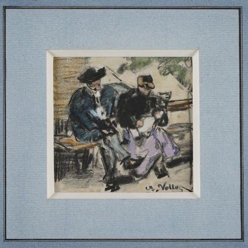 VOLLON Antoine, 1833 1900  Deux paysannes Couple sur un banc  deux dessins aquar…