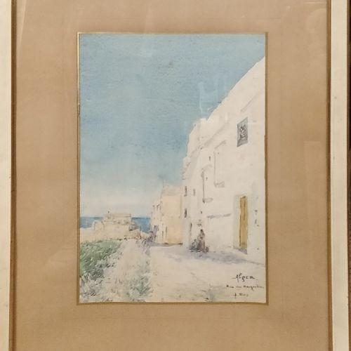 REY Alphonse (1865 1938)  Alger, rue des magrébins,  aquarelle, signée, située e…