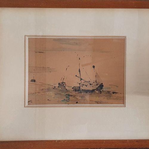 BERTRAM Abel, 1871 1954,  Bateaux échoués à Valery sur Somme,  aquarelle et goua…