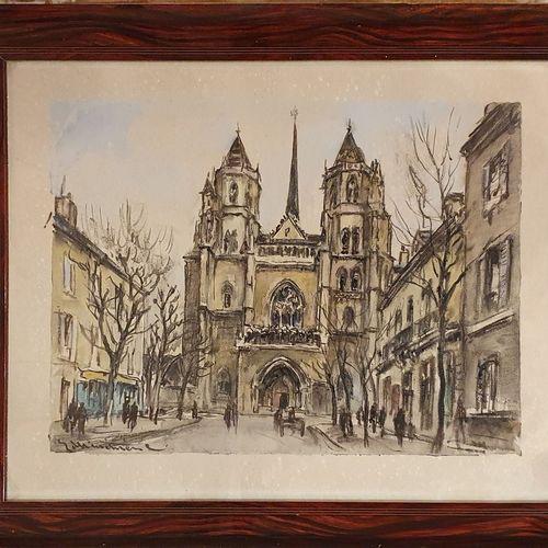MÉNÉTRIER Eric (XX)  Vue d'église  Aquarelle sur papier, signée en bas à gauche …