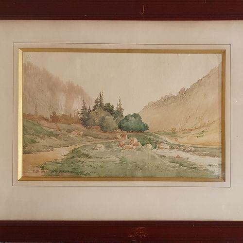 LESSIEUX Louis Ernest (1848 1925)  Vallée des Lys près de Luchon,  Aquarelle sur…