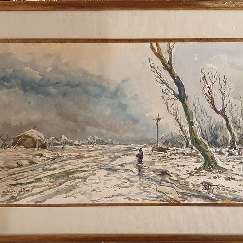 L.P. LAVOINE Robert (1916 1999)  Chemin enneigé, Seine et Marne  Aquarelle signé…