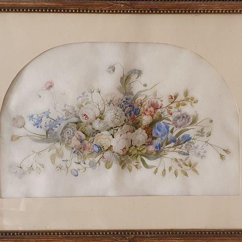 PIOT Jeanne, XXe siècle,  Composition florale,  aquarelle et rehauts de gouache …