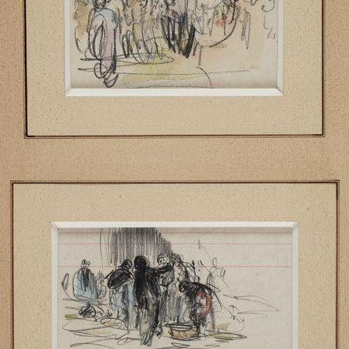 VOLLON Antoine, 1833 1900  Personnages  quatre dessins aquarellés  monogramme ou…