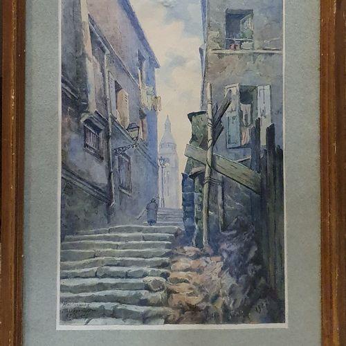 MAUNIER Victor (XX)  Passage Cottin, Montmartre, 25/2/1927  Encre et aquarelle s…