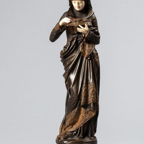 CARRIER BELLEUSE Albert Ernest, 1824 1887  La liseuse  bronze à patine brune et …