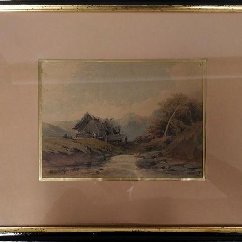 FRANTZ F., XIXe siècle,  Chalet en montagne,  aquarelle sur papier (insolation e…