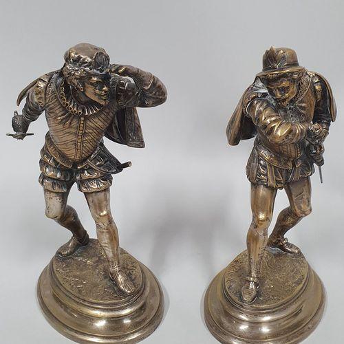 GUILLEMIN Émile, 1841 1907,  Les duellistes,  groupe en bronze à patine argentée…