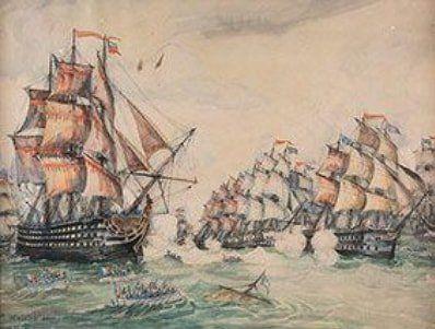FRANK WILL , 1900 1951  Bataille navale  Aquarelle (insolation et rousseurs, deu…