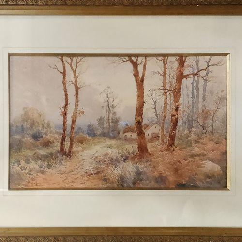 JAFFEUX François (XIX XX)  Chaumière en lisiére de forêt,  aquarelle, signée en …