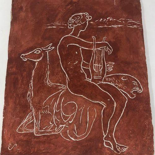 斯托尔 埃德蒙 (1903 1956)  男子手持琴,身边有一只豹子和一只羚羊,粉红色的石膏,左下角有ES字样和53年的签名。  41x33.50厘米。  小事…