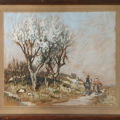 VIDAL Gustave (1985 1966)  Bretons sur le chemin,  Crayon et aquarelle et rehaut…