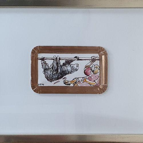 STEINLE Gerhard 5XX XXIeme)  Le paresseux, 09  dessin et aquarelle sur carton à …