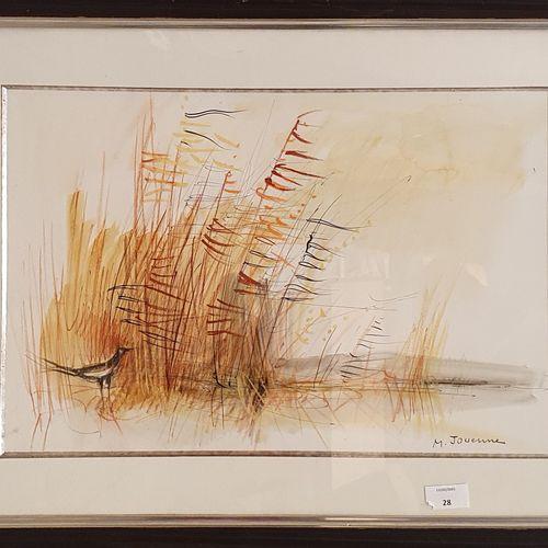 JOUENNE Michel (1933 2021)  Paysage à la pie  Encre, aquarelle et crayon sur pap…