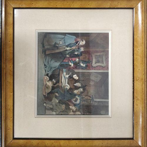 MONNIER Henry, 1805 1877,  La lecture du testament, Bruxelles 1854,  aquarelle e…