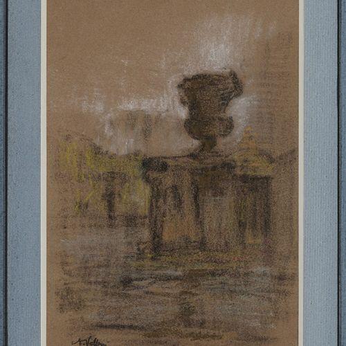 VOLLON Antoine, 1833 1900  Vasque Fontaine Prairie et arbres Bord du bassin  deu…