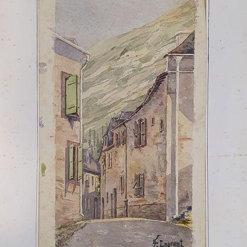 LAURENT F (XIX XX)      Rue de village en Montagne, 1883  aquarelle sur papier s…