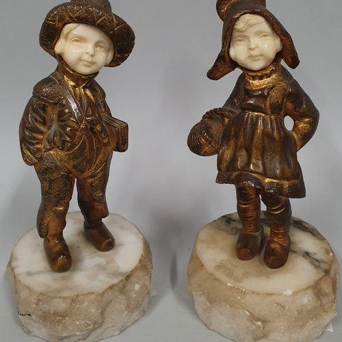 BAILLY Charles Eloy (1830 1895)  La petite fermière L'écolier.  Paire de bronze …