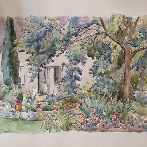 GIRARD Louis Auguste (1896 1981)  Entrée au jardin  aquarelle signée en bas à ga…